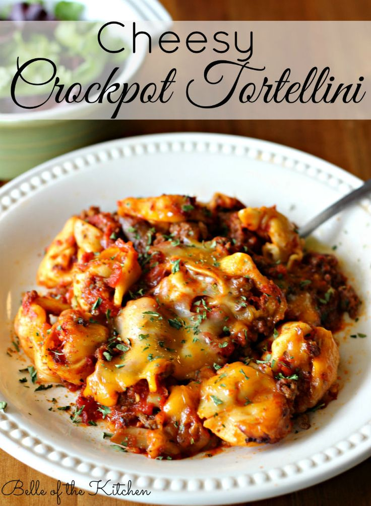 Cheesy Crockpot Tortellini Ingredients1/2 pound ground beef 1/2 pound Italian sausage, casings remove...