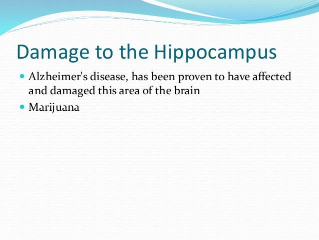 Damage to the Hippocampus   Alzheimer's disease, has been proven to have affected  and damaged this area of the brain   ...