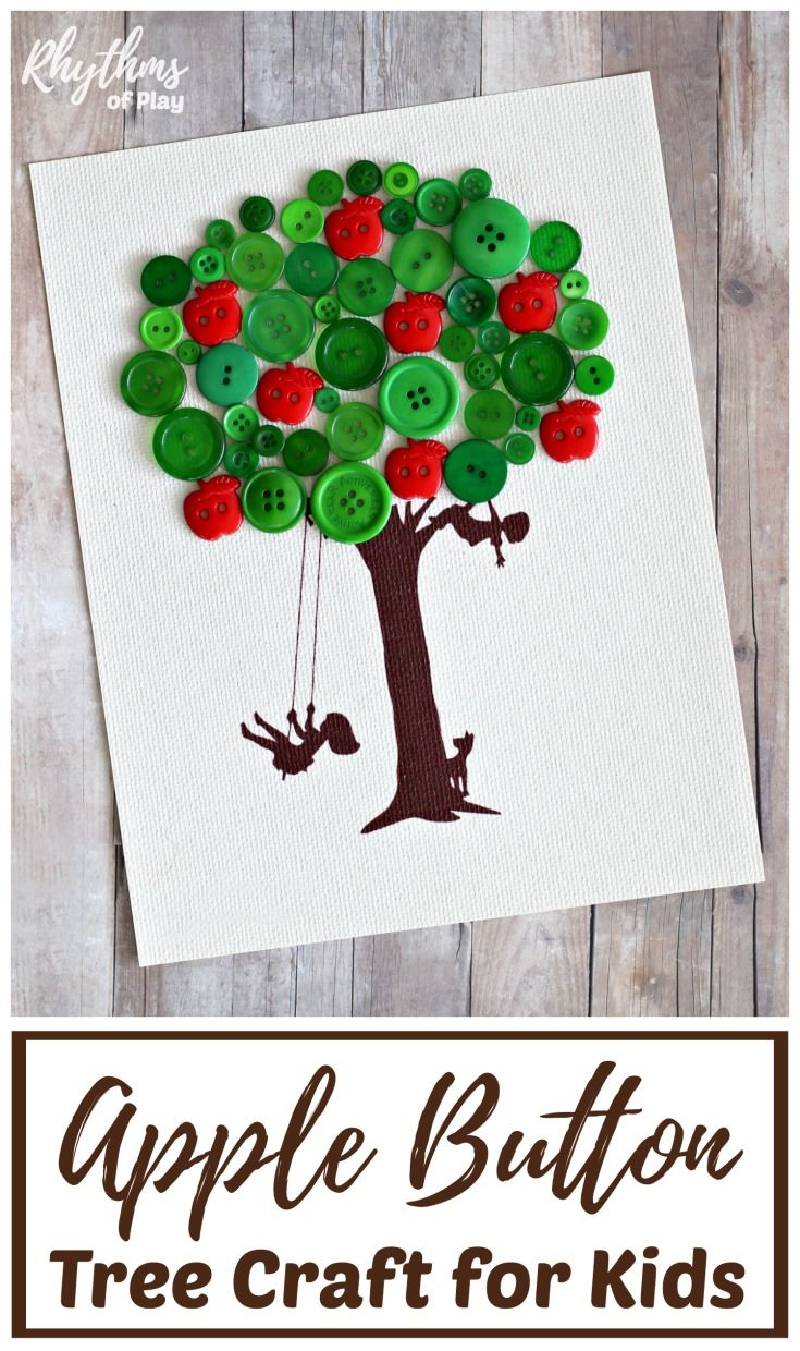 Making an apple button tree is an easy fall fine motor craft for kids.Makes a unique handmade DIY gift idea kids can make for friends, family, or your child's favorite teacher!