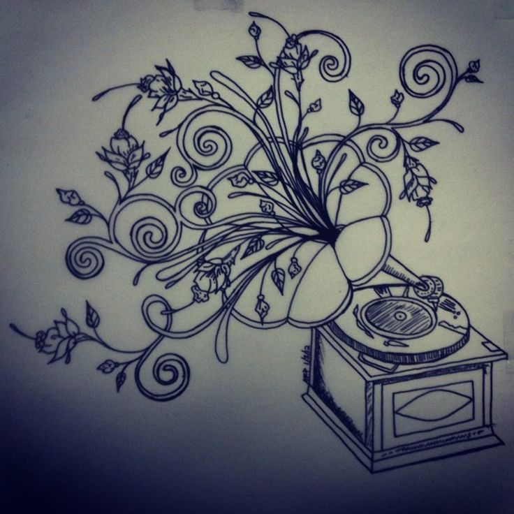 Final drawing of phonograph tattoo by BettyBoopEyes