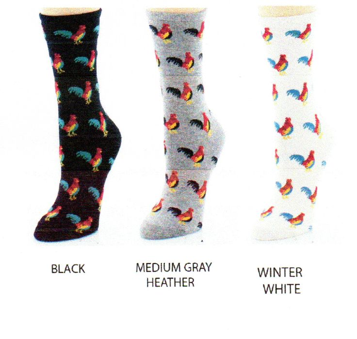 Me Moi Bamboo Rooster Socks come in Black, Medium Grey Heather and Winter White. The Roosters on the Black and Winter White are the same using Teal and Mustard Colors along with Red and Maroon. The Medium Grey Heather is Red, Maroon Mustard and Black.