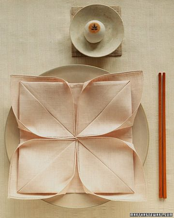 Impress guests with dinner napkins folded as elegant lotus flowers. To mark a special occasion, use pale-pink napkins instead of white.   Brought to you by: Edwards® Desserts