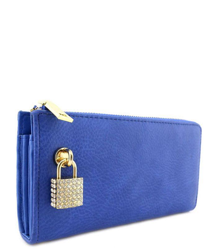 Rhinestone Lock Purse Wallet Blue - Abfabulous Fashion