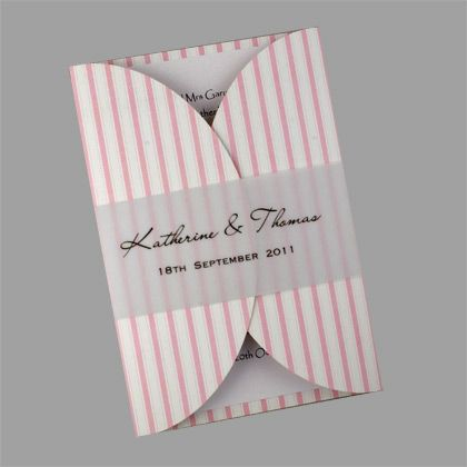 Rounded Gatefold Invitations with Stripe Pattern and Translucent Strip. The stripe pattern is available in more than 50 colours