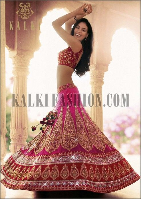 Rani pink embroidered lehenga by Kalki - soooo pretty! perfect for someone's reception