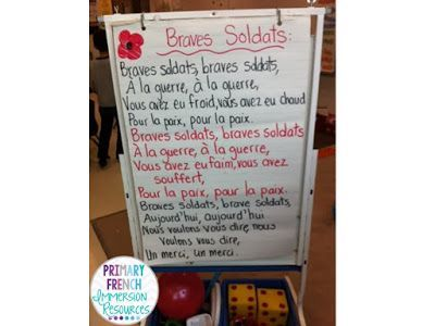 Primary French Immersion Resources: Remembrance Day - Simple French song