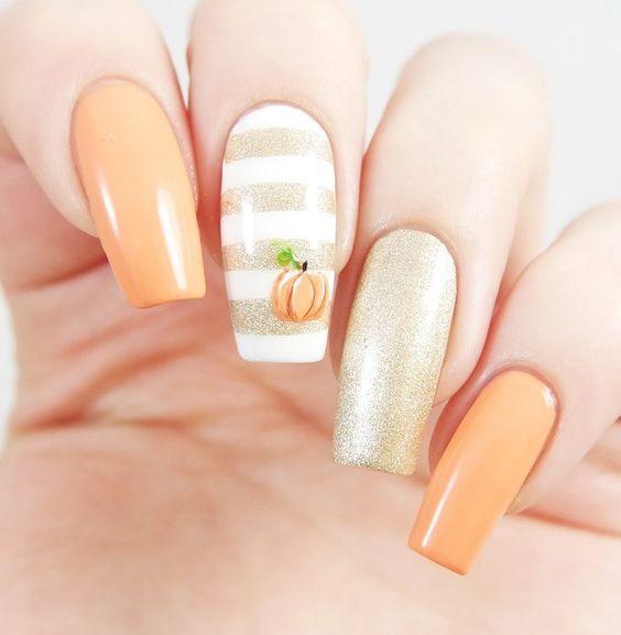 Pumpkin Nail Decal/ Nail Stencil