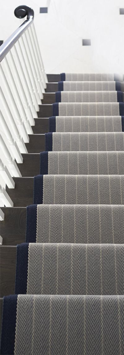 Dart Midnight Blue stair runner from Roger Oates #StairsandStripes Love this runner. Carpet on stairs is very important to me for safety.  Do not want hard wood or laminate stairs. But there is already carpet cut into stairs so replace. Love this look and the colors.