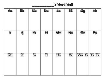 Student word wall for Word wall template printable