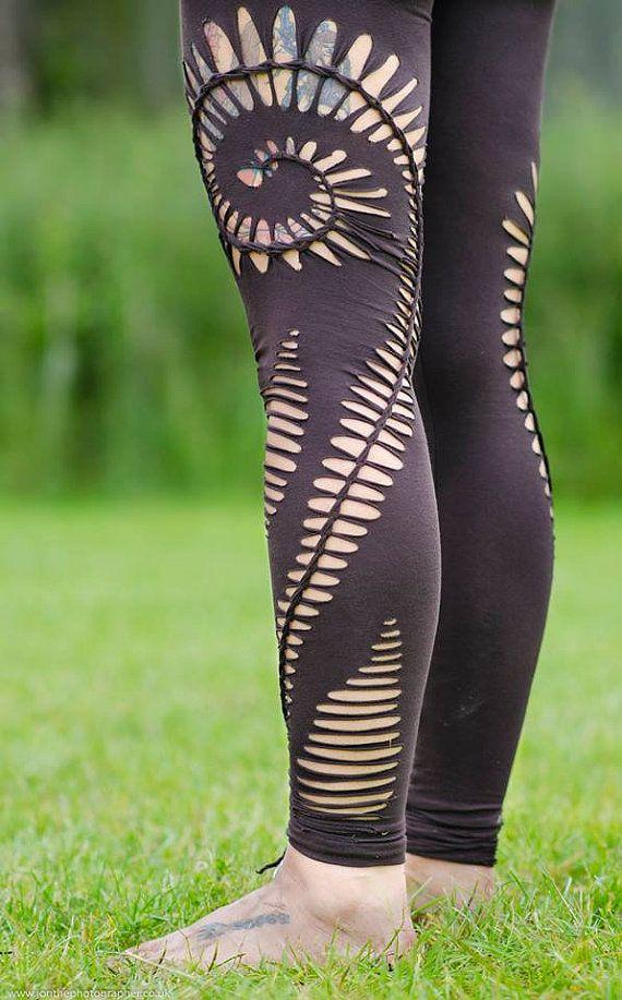 Braided Spiral Leggings handmadetribalhippiegoapsy by ShambaWear