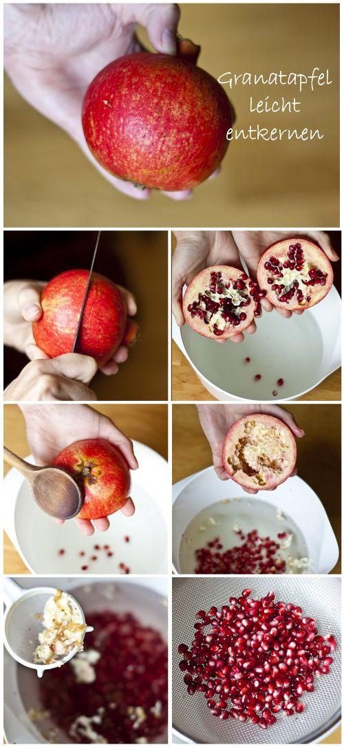 Schritt für Schritt Beschreibung wie man einen Granatapfel leicht entkernen kann