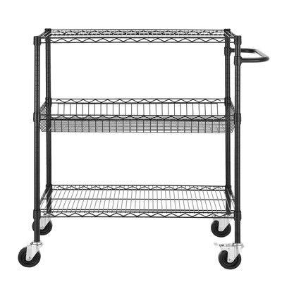 "Excel Heavy Duty Commercial Grade Wire 45"" H Three Shelf Shelving Cart & Reviews   Wayfair"