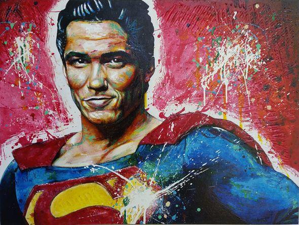 """A Hero's Heart"" by Vernon Fourie. Oil&Acrylic on Canvas. Superman DeanCain Popart Painting"