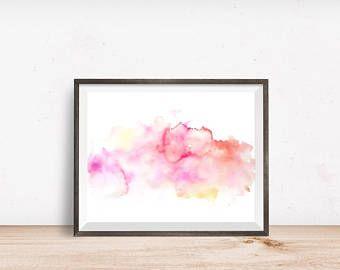 Pink Abstract Watercolor Art Print, Instant Digital Download, Printable Art, Wall Art Print, Modern Print, Watercolor Painting
