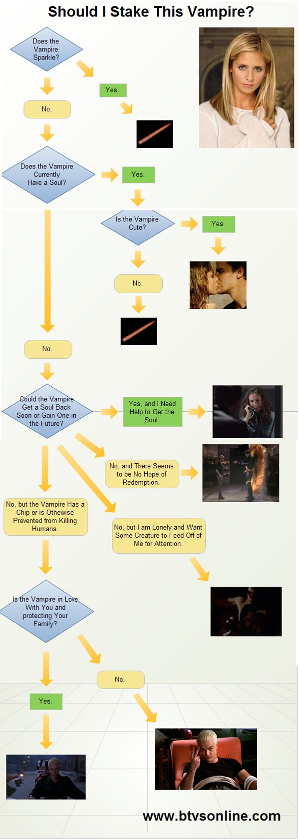 If you run into a vampire at night, here is a handy flowchart to tell you what to do -- stake it, capture it, or perhaps something else? By www.btvsonline.com