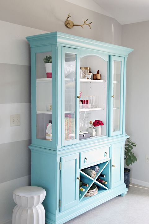 love the wall and hutch color. Reflecting Pool Sherwin Williams  Beautiful painted china hutch