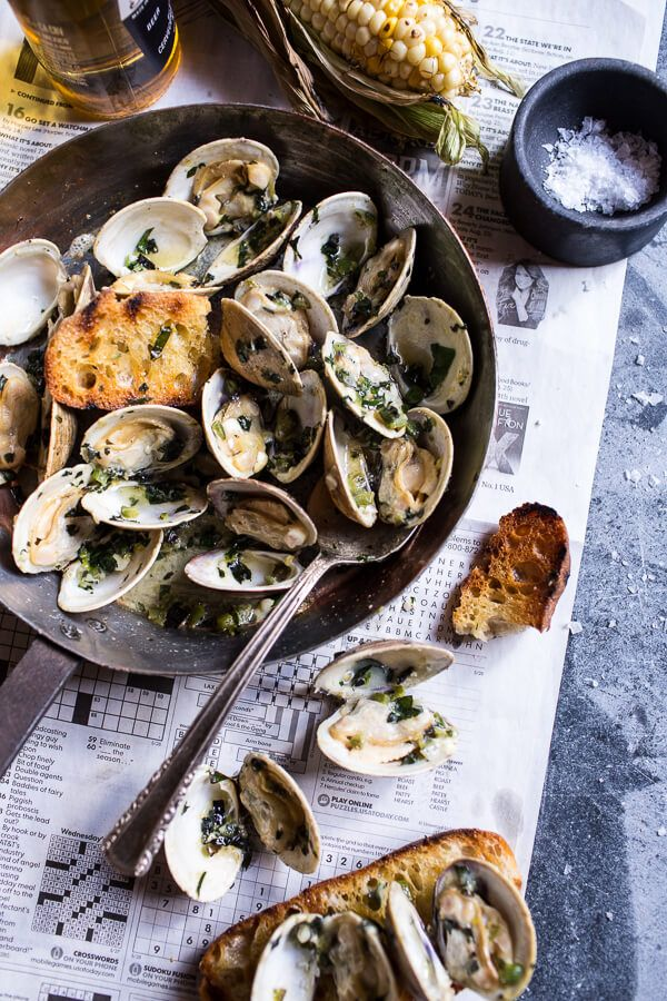 Now this sounds like a delicious summertime meal -- Grilled Clams with Charred Jalapeño Basil Butter from halfbakedharvest.com