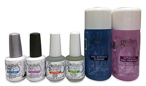 Gelish Full Size Gel Nail Polish Basix Kit (15ml) with Remover & Cleanser