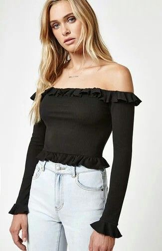 96d62cd7cf9e6 Our very own LA Hearts deliver the Ruffled Long Sleeve Off-The-Shoulder Top  to help you stay on trend. This top boasts long sleeves