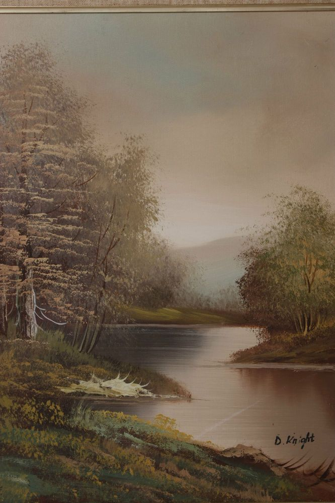 STUNNING VINTAGE WOODLAND LANSCAPE OIL PAINTING SIGNED D ...