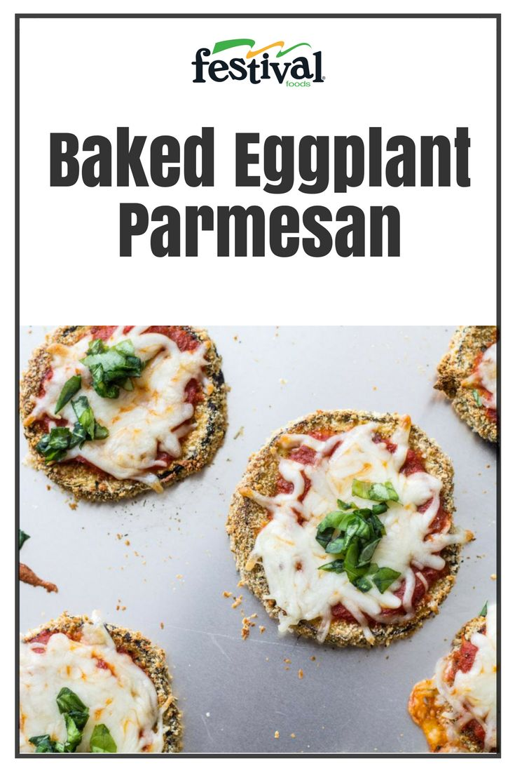 Like mini pizzas, Baked Eggplant Parmesan features eggplant slices dipped in a parmesan-panko crust and topped with marinara sauce, melty mozzarella and fresh basil. This easy dish is a fun, kid-friendly way to enjoy this unique veggie! #eggplant #parmesan #italianrecipes #kidfriendly #vegetarian