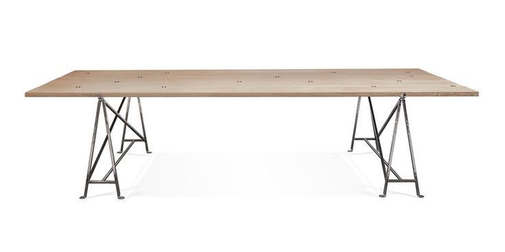 GB320 Rectangular table with sandblasted solid wood top. The table planks are bound with abacá ropes and lay on two chrome-plated or zinc-coated stands.