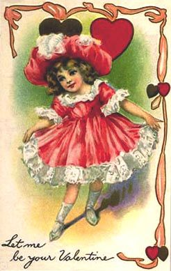 antique Valentine card with girl in red dress and hat