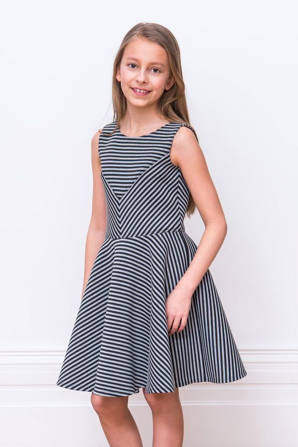 b9ab03c5c43e4 Greet every day in style with our black and grey skater dress 👗 With a  chic asymmetrical striped print, watch as your angel's day to evening look  ...