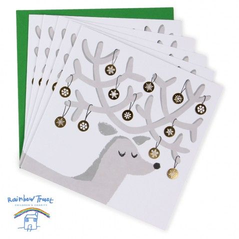 Stag & baubles charity Christmas cards - pack of 8