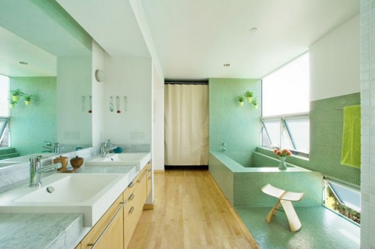 Freshly Green Bathroom Design With Green Bathroom Appliance And Large Double Sink With Large Mirror And Laminate Wood Flooring