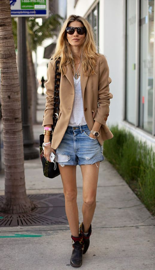 blazer & cut-off shorts.