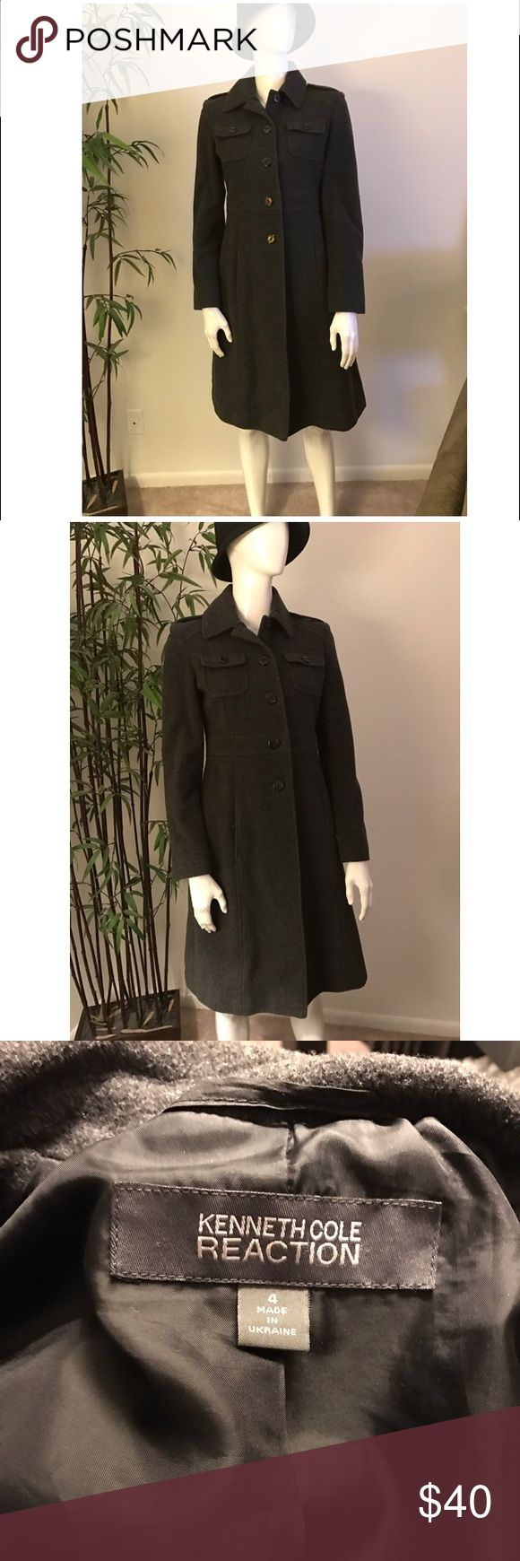 Women's Kenneth Cole wool pea coat and hat Women's grey knee length pea coat. Gently worn. Great condition. And wool hat Kenneth Cole Reaction Jackets & Coats Pea Coats