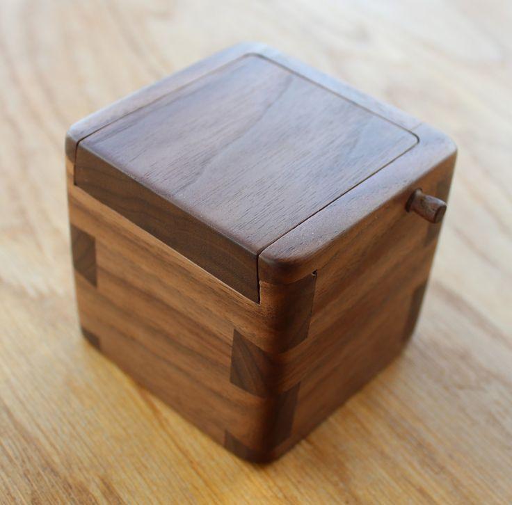 Bespoke Handmade Walnut Engagement Wooden Ring Box. Handmade Engagment Present, Bespoke Weding Gift