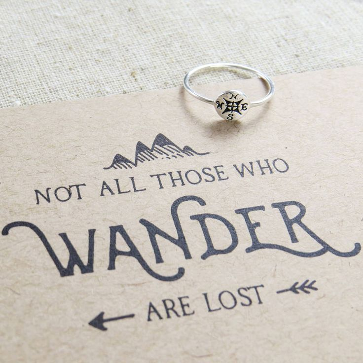 'not all who wander' silver compass ring by literary emporium | notonthehighstreet.com