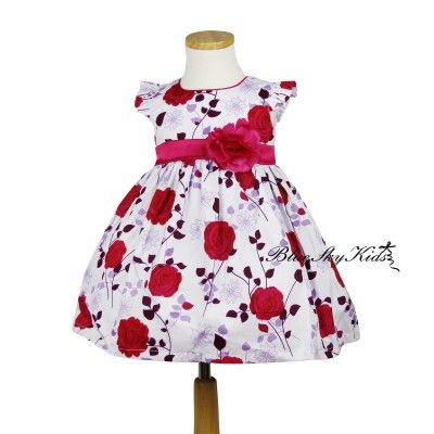 Girls Cotton Floral dress in Hot Pink QSDS630