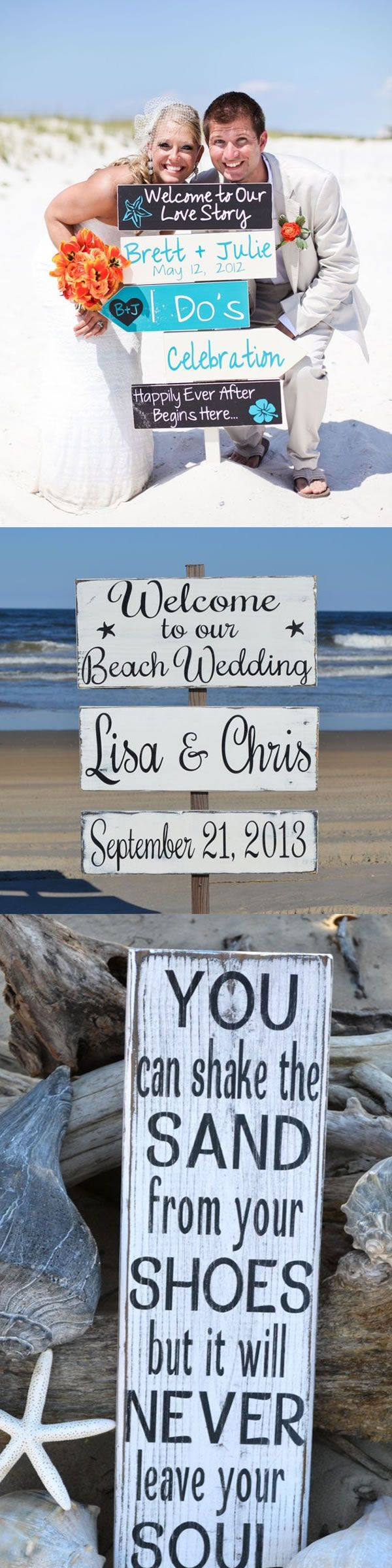 DIY Beach wedding signs , I love the colour combo!