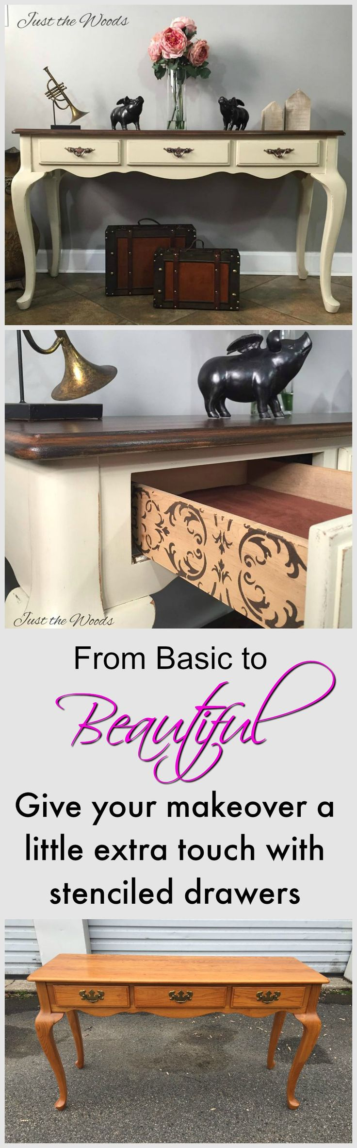 Toaster Almond Painted Sofa Table with updated hardware and surprise stencil on drawer sides by Just the Woods. Give your furniture makeover that little something extra with stenciled drawers.