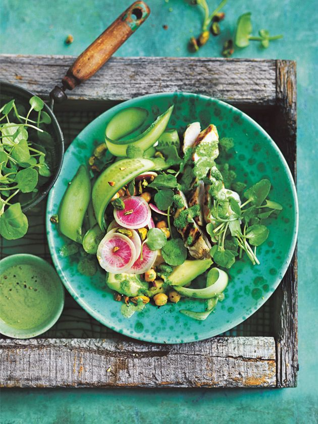 grilled chicken and watercress salad  with tahini and watercress dressing from donna hay Fresh + Light magazine issue 2