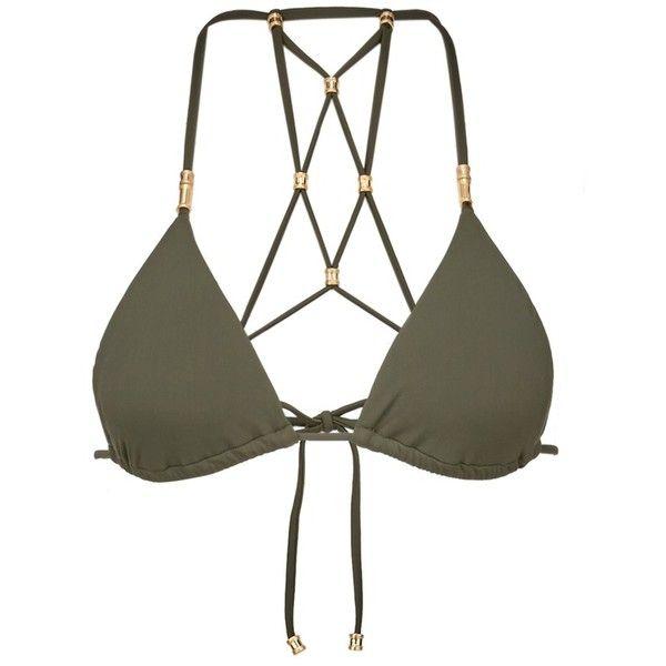 Vix 'Lucy Military' lattice back bead triangle bikini top (165 CAD) ❤ liked on Polyvore featuring swimwear, bikinis, bikini tops, green, padded triangle bikini, triangle bikini, tankini tops, swimsuit tops and swim top