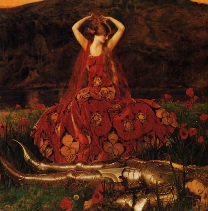 """""""La Belle Dame Sans Merci"""", 1926 ~ by Frank Cadogan Cowper (1877-1958) -- a visual expression of Keat's poem """"The Beautiful Lady without Mercy"""" which tells of a beautiful femme fatale, a faerie woman, who tempts men away from the real world, their dreams unfulfilled and their lives in misery. The knight in the poem is beguiled by her beauty and wild eyes but is left """"haggard"""" and """"woe-begone"""" when he awakes from the troubled dream during which he saw """"pale warriors, death-pale were they…"""