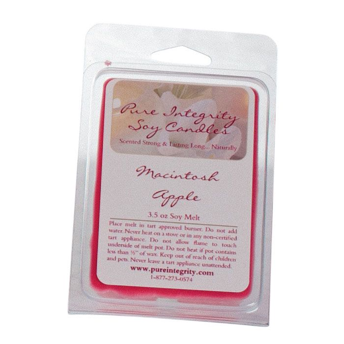 Our Macintosh Apple fragrance is the luscious refreshing scent of crisp, ever so fresh Macintosh apples. It is seriously like biting into a crisp, flavorful Macintosh apple. Brilliantly fruity!  Soy Melts are 3.5 oz with 6 cubes. $3.99