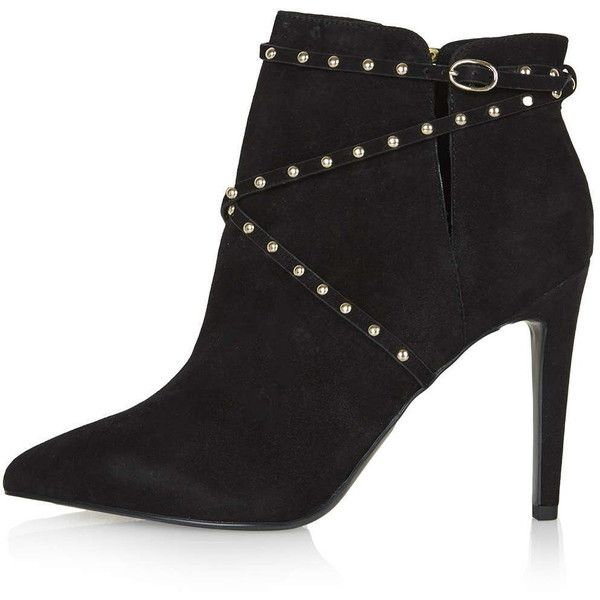 TOPSHOP HUMOUR Studded Suede Boots ($110) ❤ liked on Polyvore featuring shoes, boots, black, suede boots, pointy toe boots, black studded boots, black pointy toe boots and black suede shoes
