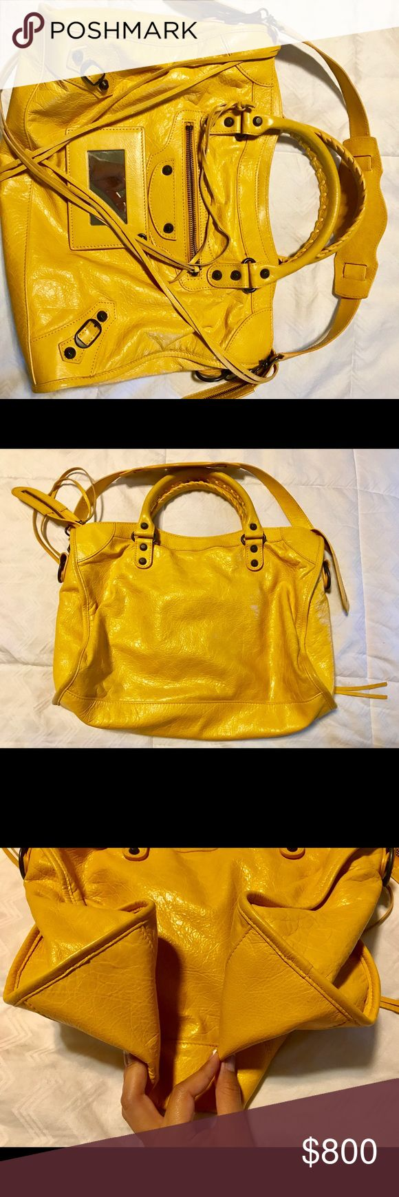 Balenciaga City Bag (Mustard Yellow) Balenciaga City Bag, Mustard Yellow with gunmetal hardware.  Like New condition, hardly any signs of wear. Clean interior. Plastic is still in interior plaque. Mirror is still attached. Included in the sale is the bag only. 🚫 No Trades 🚫 No Low Ball Offers Balenciaga Bags Satchels