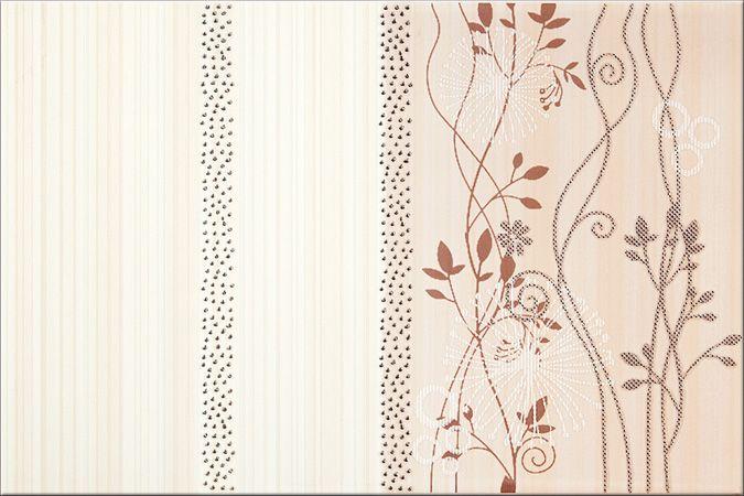 Faianta Crem cu Flori Maro cu model floral modern din colectia Calipso de la Opoczno Modelul prezinta motive florale moderne. Pentru bai naturale si vesele.