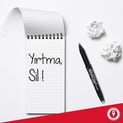 Artık yazdıklarınızı, çizdiklerinizi karalamaya ya da yırtmaya son! Çünkü silinebilir Pilot FriXion kalem mağazalarımızda.