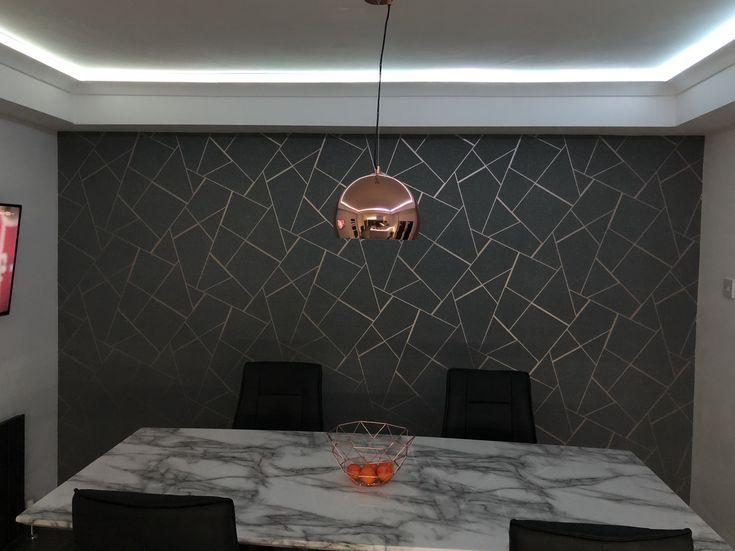 Geometric Grey And Rose Gold Wallpaper In Our Dining Room