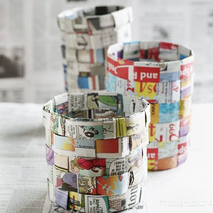 Woven newspaper baskets over a paper towel form, for the kiddies. Okay, a couple changes: we used long long strips and did it over oatmeal containers, which was easier for them. Sweet spot seemed to be 1st and 2nd graders, no 3rd, but girls AND boys. A little elaborate - definitely a long afternoon project!