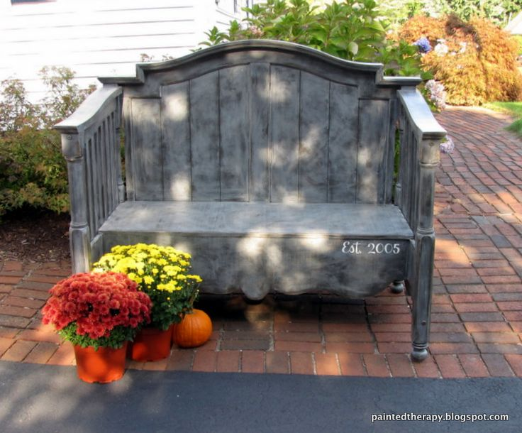 This bench has a sentimental secret: it's made out of an old crib.