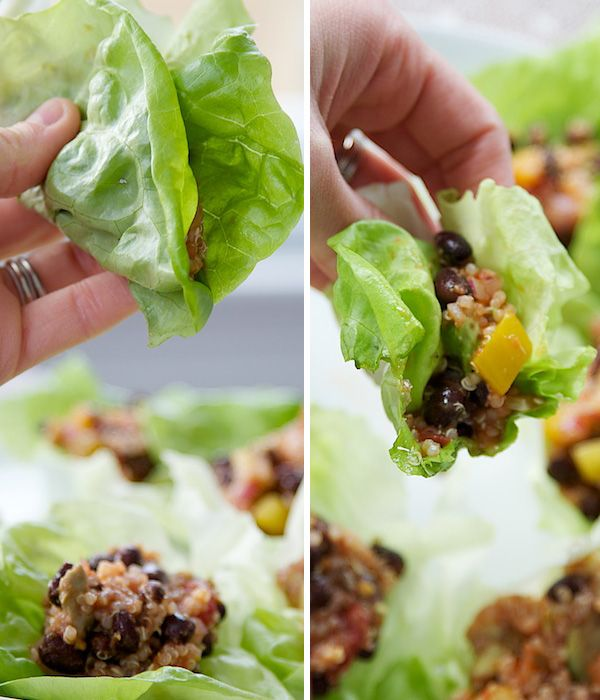 LETTUCE WRAPS WITH QUINOA, BLACK BEANS, AND AVOCADO //