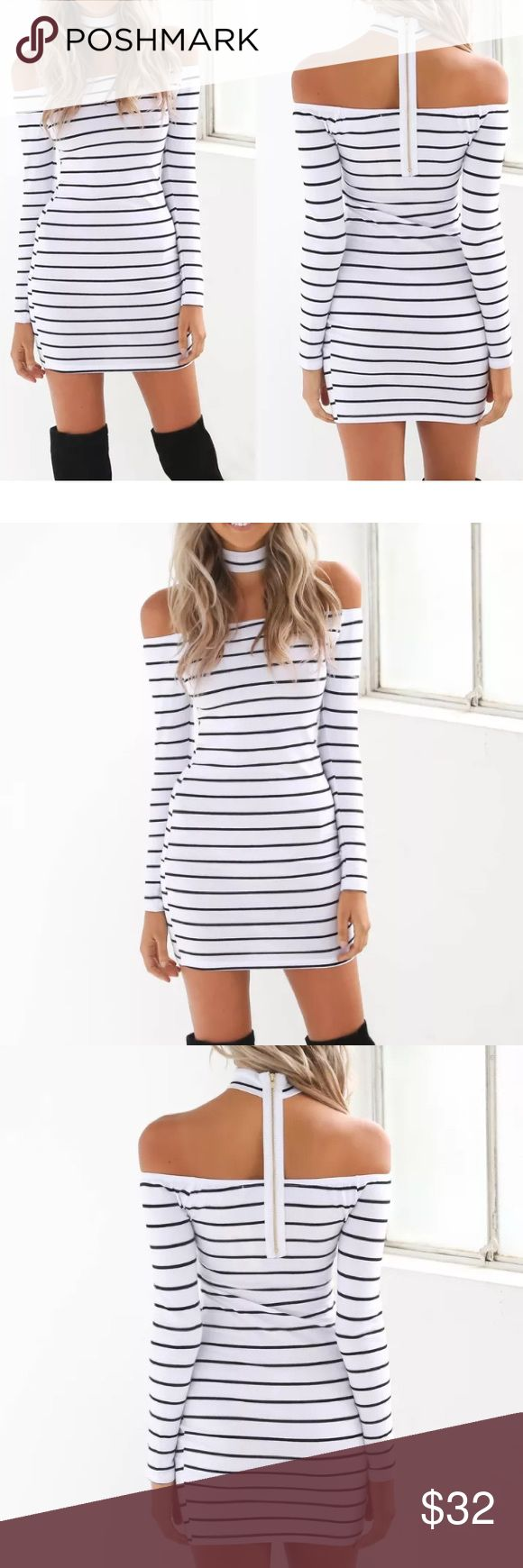 Choker dress A cute dress. White with black stripes. Off the shoulder, with a choker neck. A zip up back. Long sleeves. Made from cotton and spandex. Has a nice stretchy build. Sits in the middle of thighs. boutique item Dresses Mini